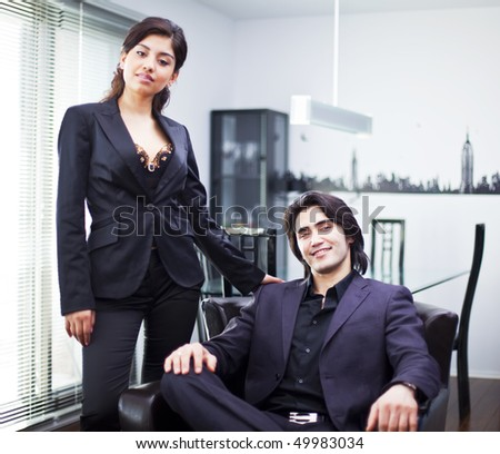 business couple at home