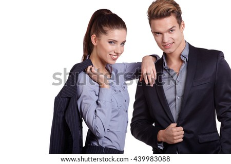 Business couple on white studio  background