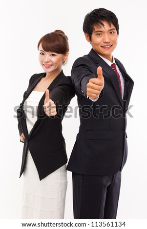 Business couple showing thumb isolated white background.
