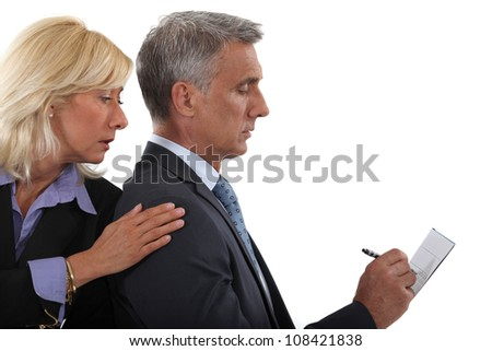business couple working together - stock photo