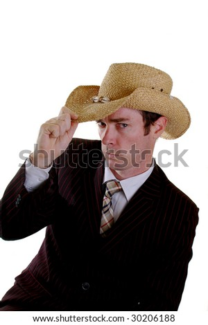 business cowboy joker giving the howdy greeting - stock photo