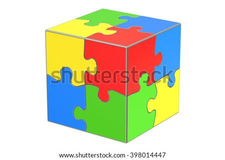 Business creativity concept with cube puzzle, 3D rendering