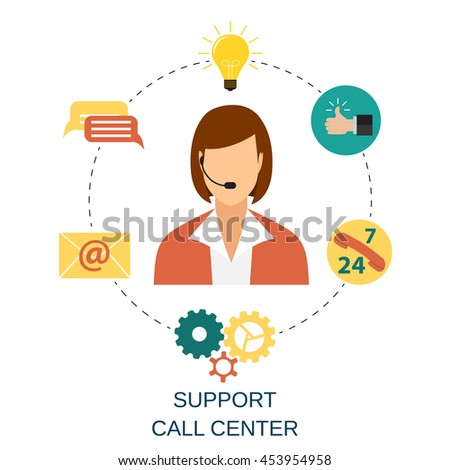 Business customer care service concept. contact us support help desk phone call and website click for infographics design web elements. illustration in flat design icon Raster version - stock photo