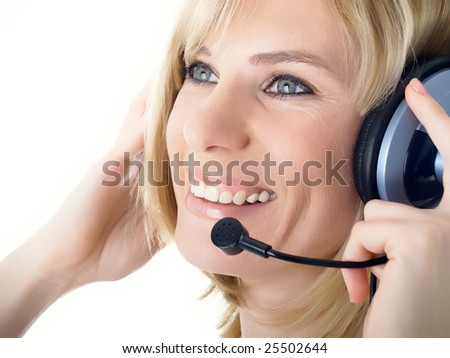 business customer operator smiling - stock photo