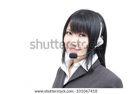business customer support operator woman, isolated on white background - stock photo