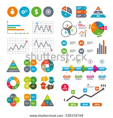 Business data pie charts graphs. Business icons. Human silhouette and aim targer with arrow signs. Dollar currency and gear symbols. Market report presentation.  - stock photo
