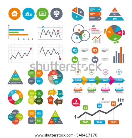 Business data pie charts graphs. For sale icons. Real estate selling signs. Home house symbol. Market report presentation.  - stock photo