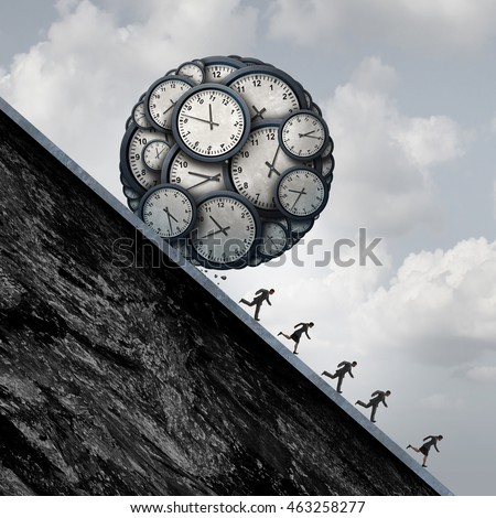 Business deadline stress concept as a group of employees or workers running away from a ball made of clock objects as an overtime metaphor and stress in the workplace with 3D illustration elements.