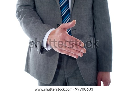 Business deal, close-up shot. Businessman offering handshake