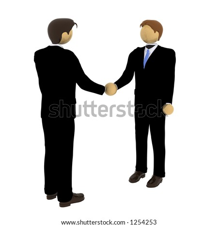 business deal 3d illustration over white