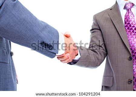 Business deal. Handshake. Isolated on white background. - stock photo
