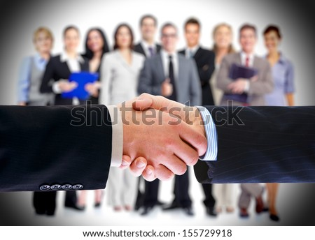 Business deal. Handshake. Isolated on white background.
