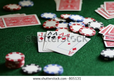 Business dealings or Vegas gaming, the right combo of skill & luck can bring in big winnings. - stock photo
