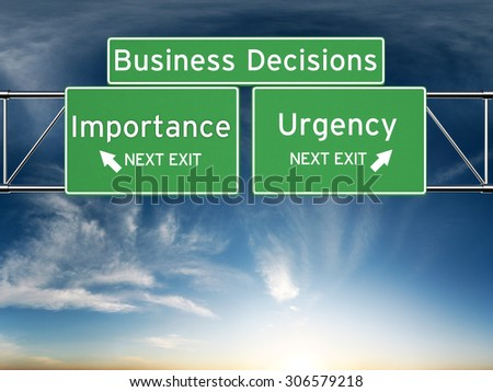 Business decision making focusing on decisions of importance or urgency.  - stock photo