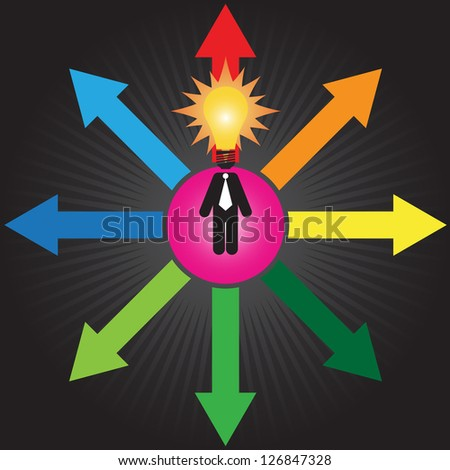 Business Decision or Business Direction Concept Present By Businessman With Light Bulb Head Standing on Colorful Arrow and Trying To Make A Choice in Black Shiny Background - stock photo