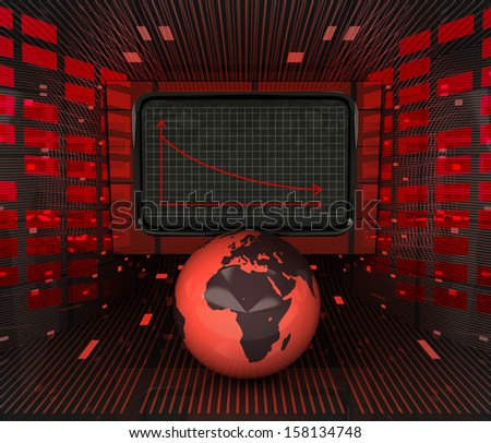 business decrease or negative results in african countries illustration  - stock photo