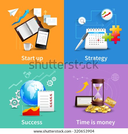 Business design concepts set with start up strategy success time is money realistic icons isolated  illustration - stock photo