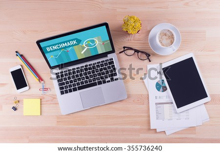 Business desk concept - BENCHMARK - stock photo