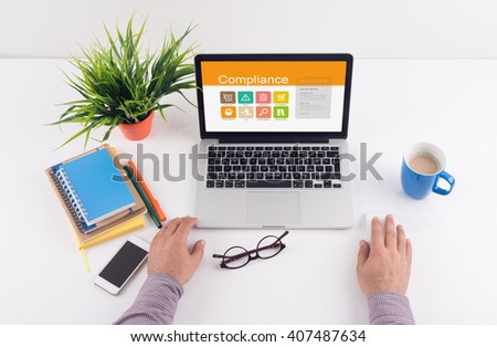Business desk concept - Compliance - stock photo