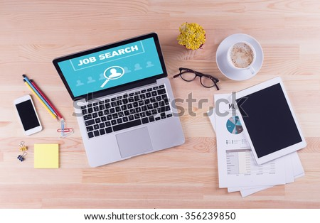Business desk concept - JOB SEARCH - stock photo