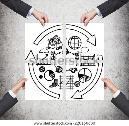 Business development concept, four hands holding posters of different stages of business development.  - stock photo