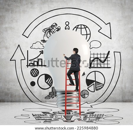 Business development concept, light bulb as a symbol of the new idea and different stages of business development. Businessman and the flow chart.  - stock photo