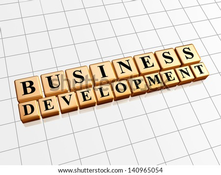 business development - text in 3d golden cubes with black letters, business growth concept