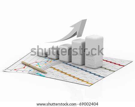 business diagram, bar, graph, chart, graphic on a white background with pen
