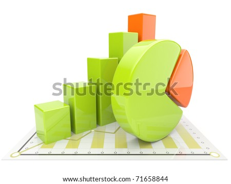 Business diagram 3d. graph Isolated - stock photo