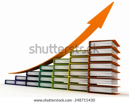 business diagram from folders for documents - stock photo