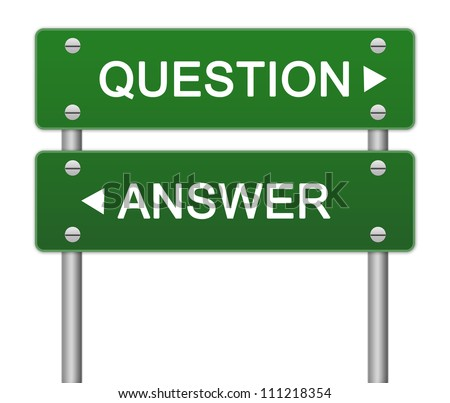 Business Direction Concept Present By Green Question or Answer Street Sign On White Background - stock photo