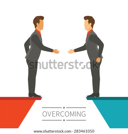 Business disagreement overcoming bitmap concept in flat modern style - stock photo
