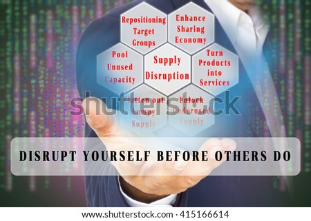 Business Disruption Concept  image. Supply disruption factors on the double exposure of business man and digital code background. with Text banner. - stock photo
