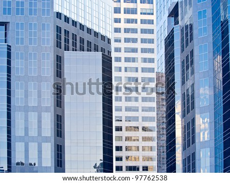Business District of a modern downtown. Calgary office buildings in downtown. Many Oil company's headquarters are in Calgary. - stock photo
