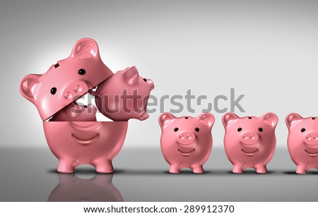 Business diversification concept as a financial growth strategy for new markets for investment growth as an open piggy bank with a group of smaller piggybanks as a metaphor for growing wealth. - stock photo
