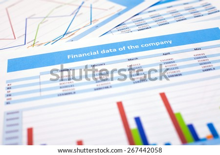 Business document. Financial data of the company - stock photo