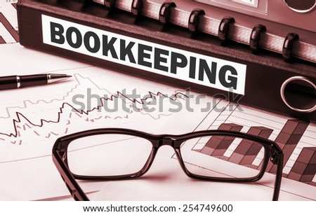 business document folder with label bookkeeping - stock photo