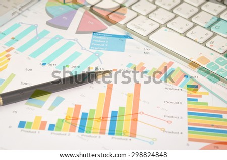 business documents with charts growth. workplace businessman