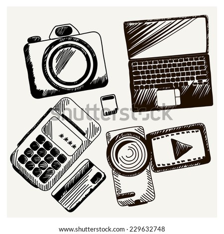 Business doodles icons Sheet of paper with video camera laptop cash mashines in sketch style. Raster version - stock photo
