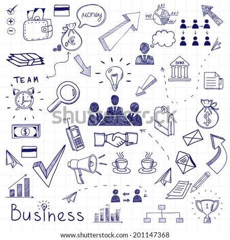 business doodles seamless pattern background with diagrams, humans and ideas bulbs - stock photo
