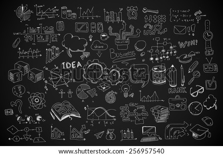Business doodles Sketch set : infographics elements isolated, vector shapes. It include lots of icons included graphs, stats, devices,laptops, clouds, concepts and so on. - stock photo