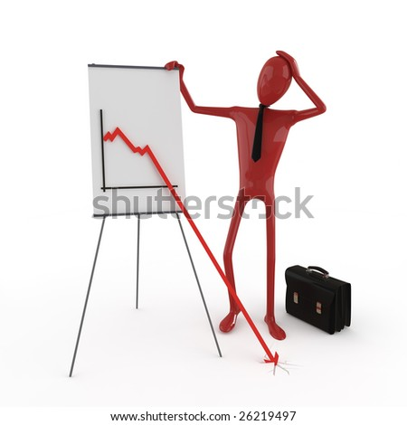 Business dummy concerned about financial chart. This image contains clipping path for exact isolation from the background - stock photo