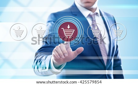 business, e-business, technology and internet concept - businessman pressing add to cart button on virtual screens