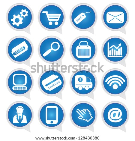 Business E-Commerce and Online Shopping Concept Present By Online Shopping Sign on Blue Icon Set Isolated on White Background