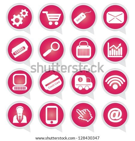 Business E-Commerce and Online Shopping Concept Present By Online Shopping Sign on Pink Icon Set Isolated on White Background
