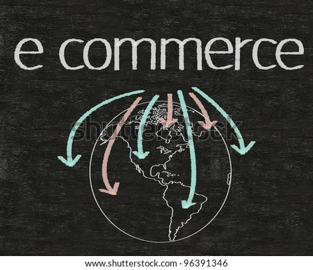 business e commerce written on blackboard with earth sign - stock photo