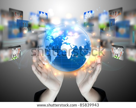 business earth globe in his hands - stock photo