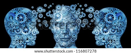 Business education and corporate management training programs with human heads made of gears and cogs exchanging ideas and knowledge to train and educate the mind for career success on black. - stock photo