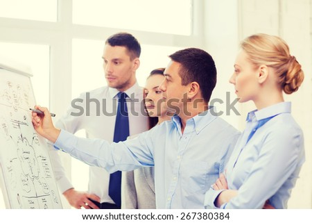 business, education and office concept - serious business team with flip board in office discussing something - stock photo