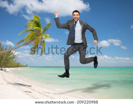 business, education and people concept - smiling happy businessman jumping over tropical beach background